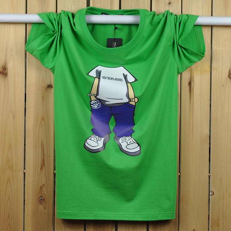 淘宝男士t恤 男士纯棉加大码半袖T恤嘻哈学生宽松运动胖子短袖卡通男装汗衫潮_推荐淘宝好看的男t恤