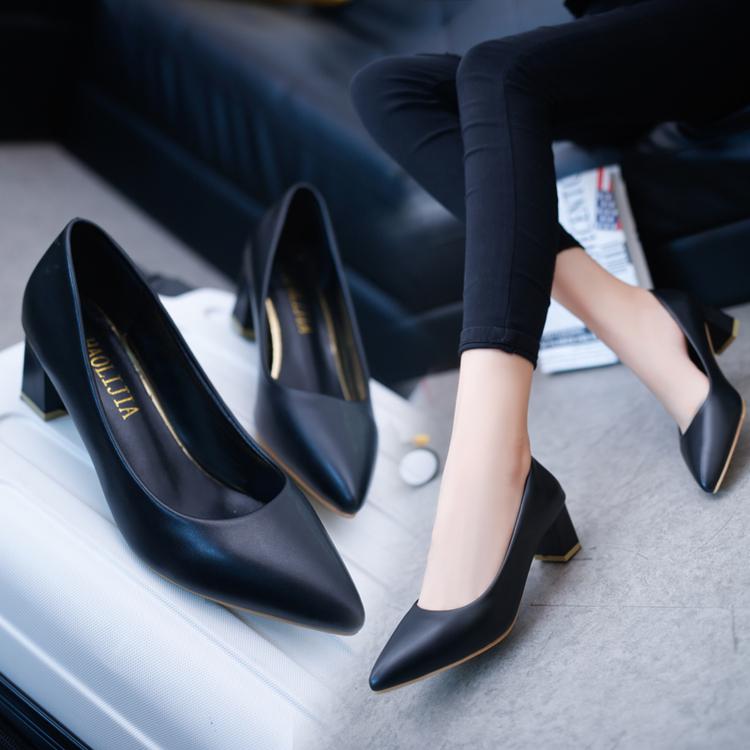 尖头鞋 四季鞋5CM中跟粗跟职业单鞋女浅口工作鞋尖头高跟女鞋黑色皮鞋潮_推荐淘宝好看的女尖头鞋