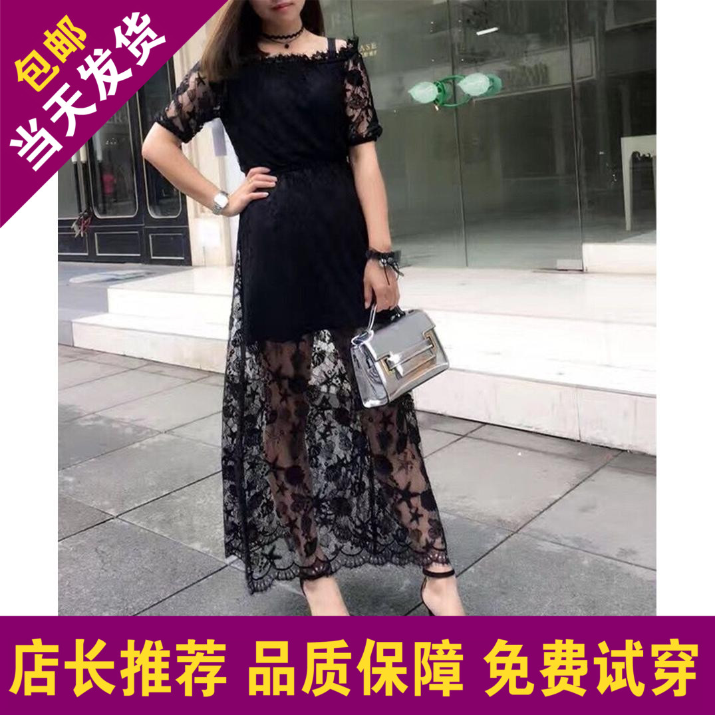 欧时力服装 2017夏女新款一字领蕾丝连衣裙短袖长裙1JY2080500_推荐淘宝好看的欧时力