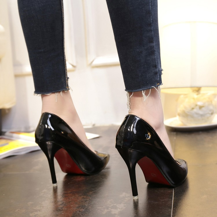 黑色高跟鞋 34 33小码女鞋42 43大码10cm高跟鞋细跟尖头显瘦黑色女单鞋伪娘鞋_推荐淘宝好看的黑色高跟鞋