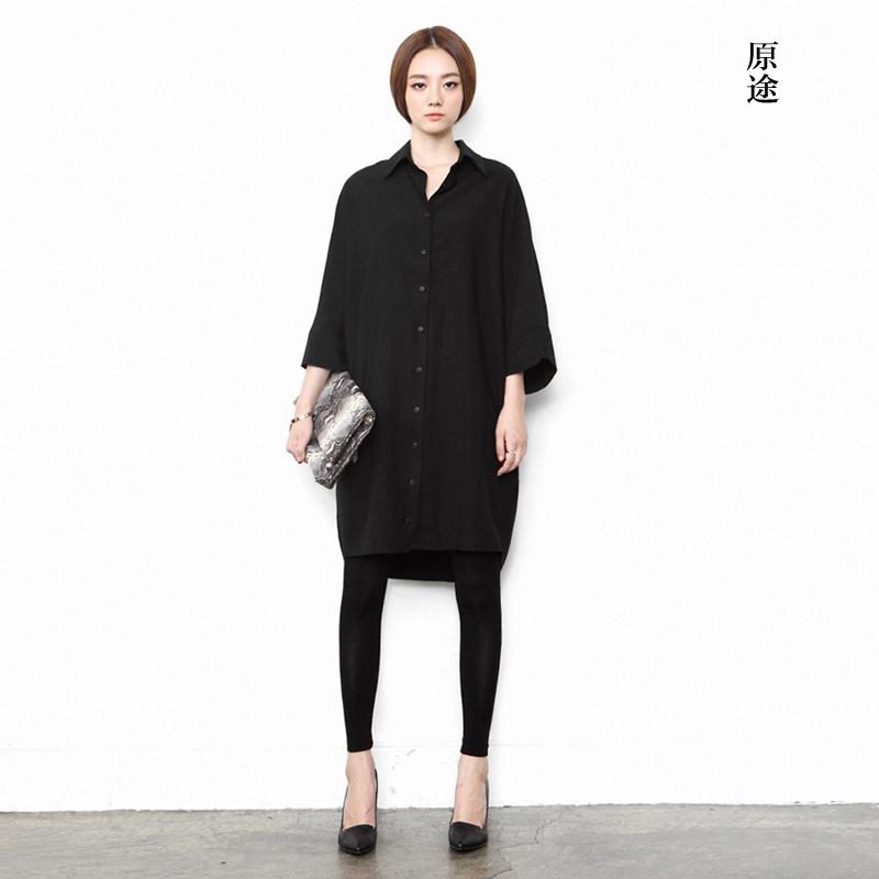 个性女装 原创设计师女装品牌春秋黑色衬衫小众中长款外套显瘦个性宽松开衫_推荐淘宝好看的个性女装