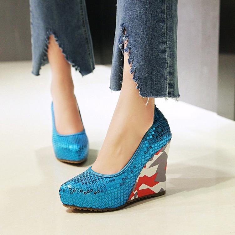 粉红色坡跟鞋 亮片表演蓝色粉红色银色女鞋婚鞋高跟单鞋坡跟小码大码鞋 43 JSL_推荐淘宝好看的粉红色坡跟鞋