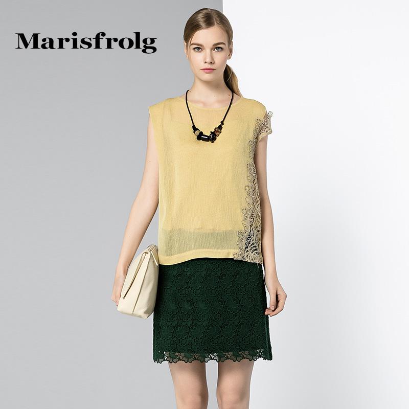 玛丝菲尔女装 Marisfrolg玛丝菲尔女装优雅时尚宽松拼接蕾丝圆领上衣专柜正品_推荐淘宝好看的玛丝菲尔
