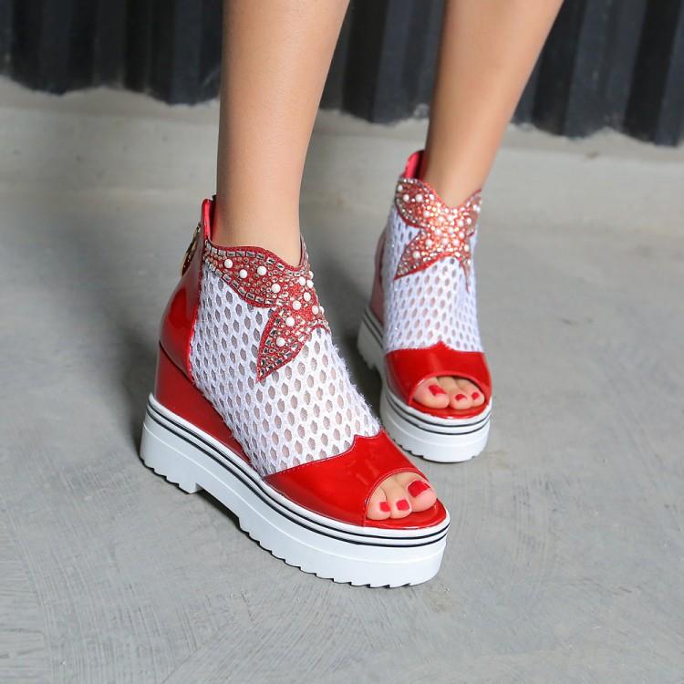 粉红色鱼嘴鞋 靓鞋夏季高跟坡跟凉鞋红色粉红色米色鱼嘴镂空大码凉鞋 40-43 YYA_推荐淘宝好看的粉红色鱼嘴鞋
