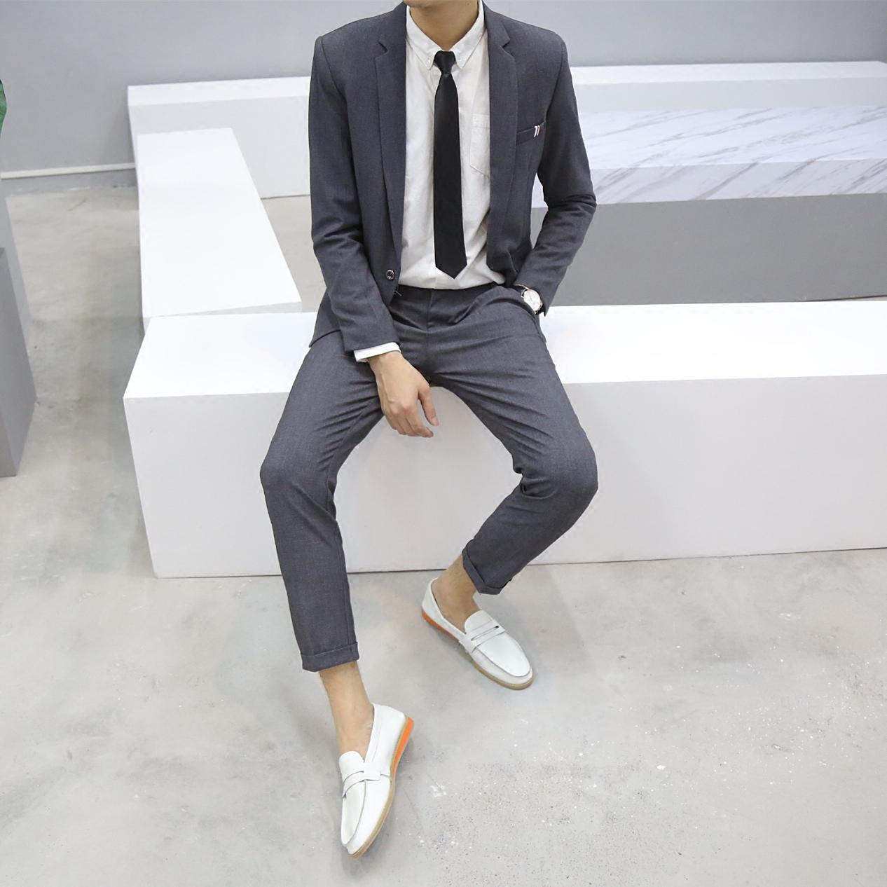 男士西装 男士休闲韩国东大门英伦风韩版帅气修身小西装外套西服套装两件套_推荐淘宝好看的男西装