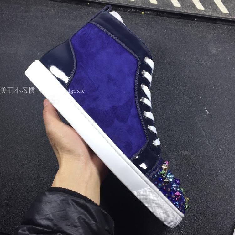 紫色高帮鞋 CL andGZ高端柳钉女高帮紫色男鞋牛皮水钻螺纹铆钉休闲系带红底鞋_推荐淘宝好看的紫色高帮鞋