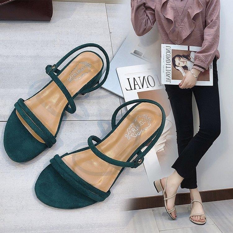 女士罗马鞋 2018新款韩国chic中跟一字带凉鞋女罗马复古绒面简约百搭粗跟女鞋_推荐淘宝好看的女罗马鞋