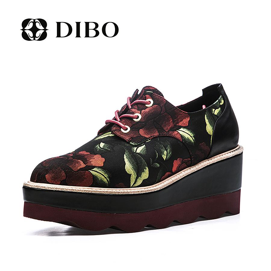 欧美松糕鞋 碲铂DIBO2017新款欧美女鞋尖头拼色印花系带低帮鞋女鞋松糕鞋厚底_推荐淘宝好看的女欧美松糕鞋