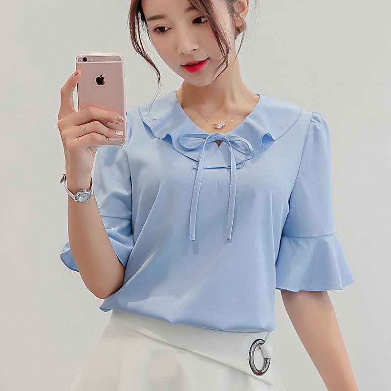 白色雪纺衫 彩黛妃2017夏季新款韩版女装修身大码打底衫短袖衬衫女纯色雪纺衫_推荐淘宝好看的白色雪纺衫