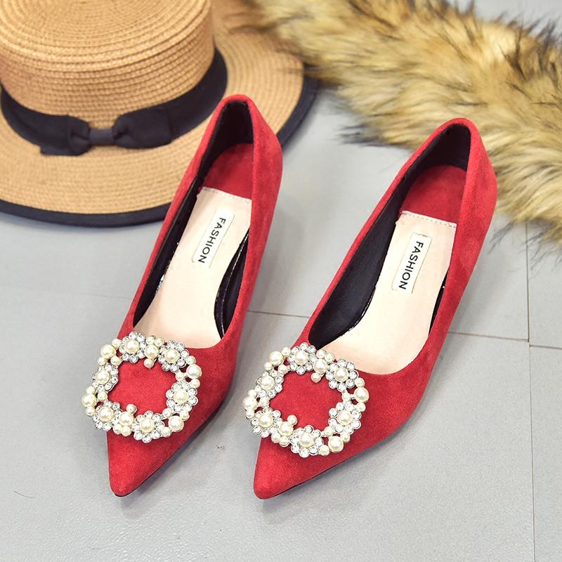 水钻高跟鞋 2018新款水钻女鞋红色高跟鞋新娘鞋结婚鞋子尖头低跟鞋女细跟3cm_推荐淘宝好看的女水钻高跟鞋