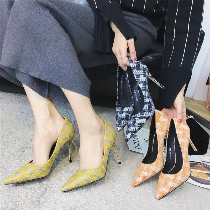 黄色尖头鞋 拼色格子黄色高跟鞋女细跟2018春季新款女鞋百搭尖头单鞋女单鞋韩_推荐淘宝好看的黄色尖头鞋