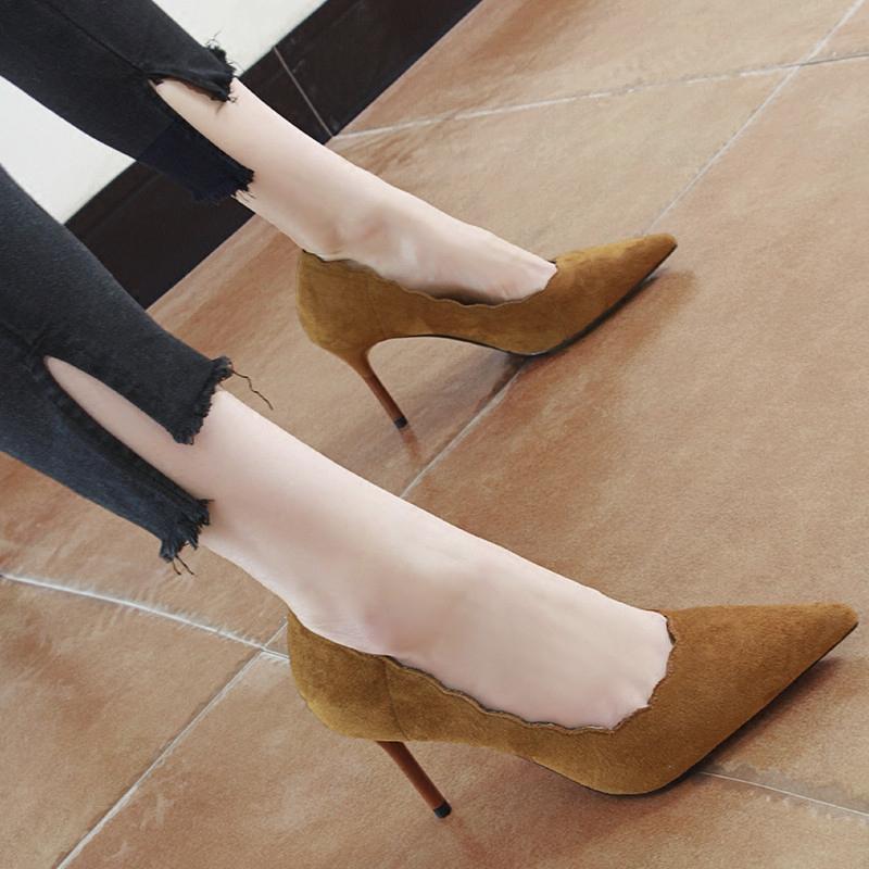 高跟尖头鞋 黑色高跟鞋2018春秋季新款32码绒面尖头细跟小清新女单鞋33小码鞋_推荐淘宝好看的高跟尖头鞋