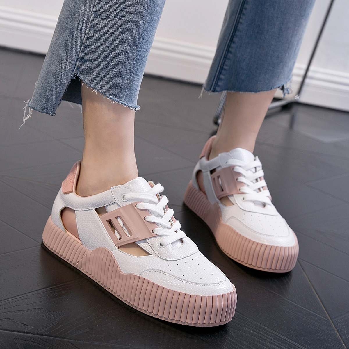 粉红色厚底鞋 白色粉红色拼色休闲鞋厚底鞋镜面拼接牛皮平跟真皮单鞋系带女鞋_推荐淘宝好看的粉红色厚底鞋