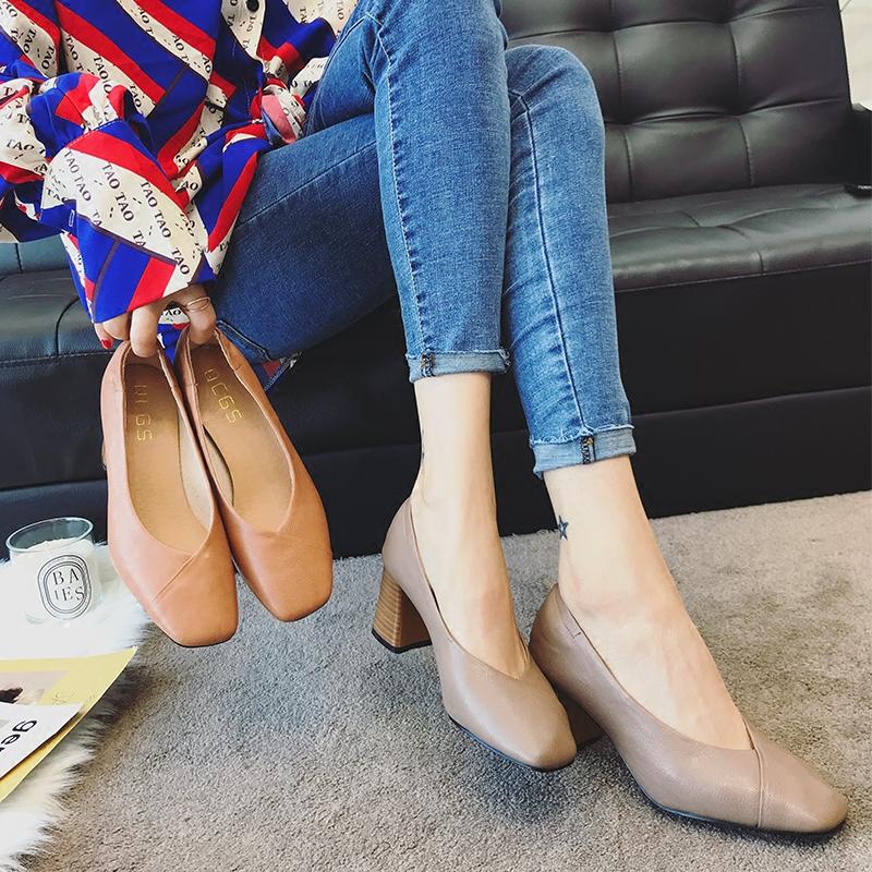粗高跟单鞋 方头复古奶奶鞋女2018春季新款高跟鞋韩版时尚浅口粗跟单鞋豆豆鞋_推荐淘宝好看的女粗高跟单鞋