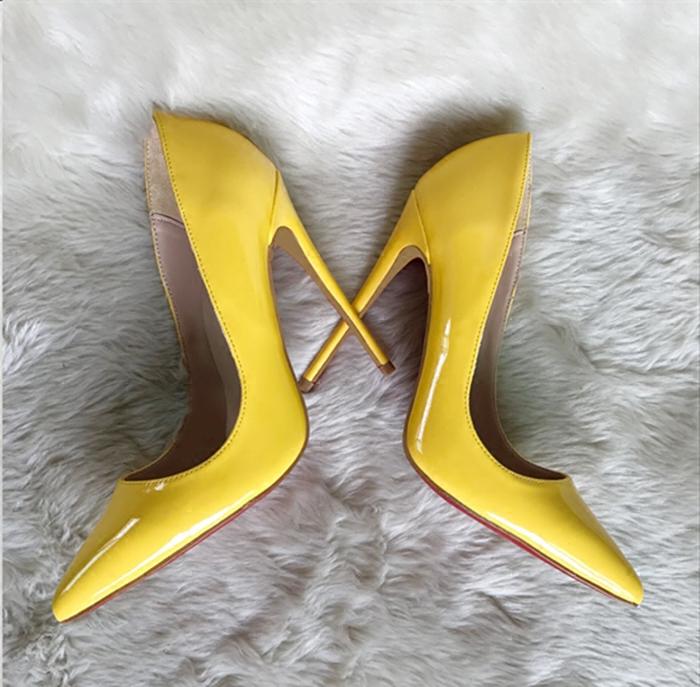 黄色高跟鞋 欧美春夏新款黄色漆皮小码高跟鞋细跟12cm尖头浅口单鞋34码_推荐淘宝好看的黄色高跟鞋