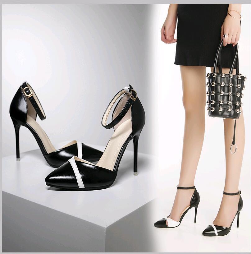 白色凉鞋 凉鞋女夏细跟尖头一字扣带高跟鞋子黑白色浅口时尚性感包头单鞋女_推荐淘宝好看的白色凉鞋