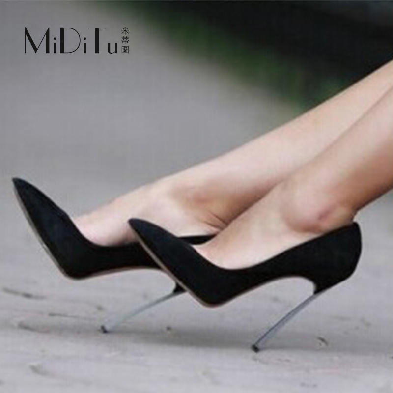 尖头鞋 米蒂图欧美新款绒面尖头高跟金属细跟性感浅口简约百搭女工作单鞋_推荐淘宝好看的女尖头鞋