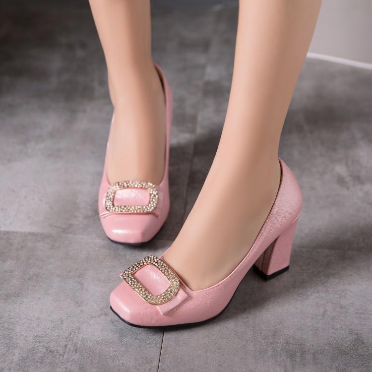 粉红色高跟鞋 女鞋米色白色粉红色鞋婚鞋伴娘粗跟高跟鞋小码大码鞋 33 45 47 XR_推荐淘宝好看的粉红色高跟鞋