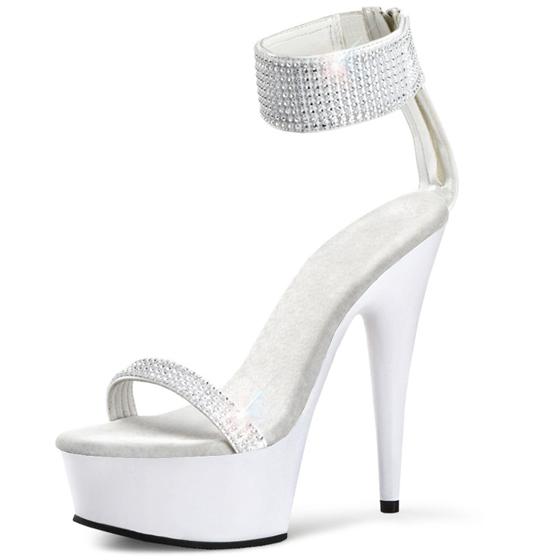 白色高跟凉鞋 2016新款女鞋 夜店模特走秀鞋 白色水钻婚鞋 15cm公分超高跟凉鞋_推荐淘宝好看的女白色高跟凉鞋
