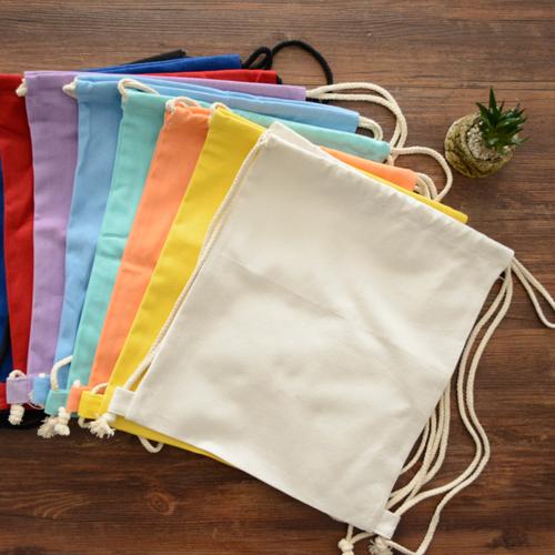 帆布双肩糖果包 简约纯色空白袋印刷定制logo糖果色抽绳帆布束口双肩包背包_推荐淘宝好看的帆布双肩糖果包