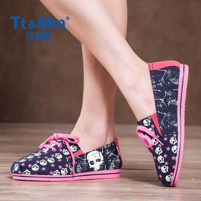 韩版涂鸦帆布鞋 Tt&Mm汤姆斯女鞋夏季新款韩版涂鸦帆布鞋透气鞋系带百搭布鞋_推荐淘宝好看的韩版涂鸦帆布鞋