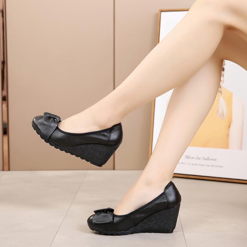 真皮坡跟鞋 真皮女鞋坡跟单鞋舒适牛筋软底圆头蝴蝶结护士鞋休闲女鞋子工作鞋_推荐淘宝好看的真皮坡跟鞋