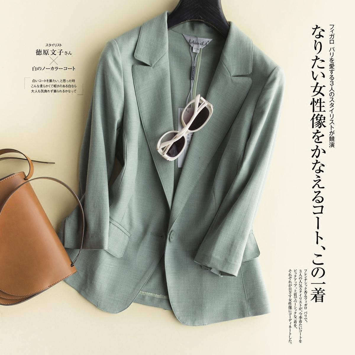 绿色小西装 春夏新款韩版修身显瘦 时尚 丝麻 通勤小西装外套短款女_推荐淘宝好看的绿色小西装