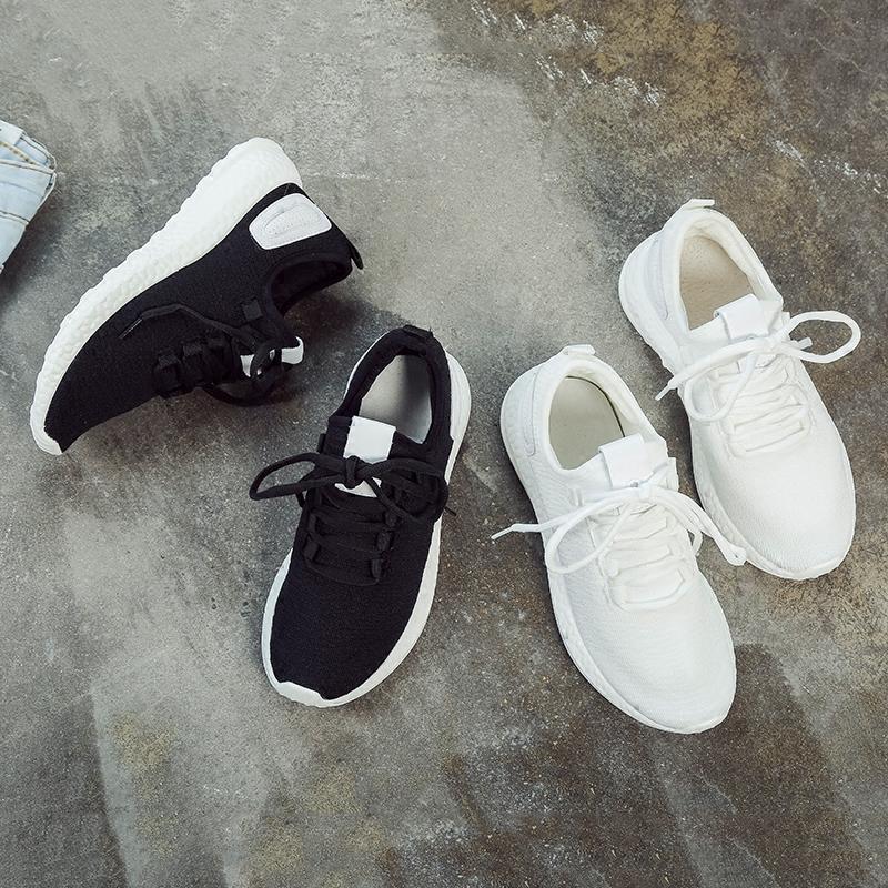 黑色运动鞋 新款春夏季黑色运动鞋女韩版ulzzang原宿百搭情侣港风健身跑步鞋_推荐淘宝好看的黑色运动鞋