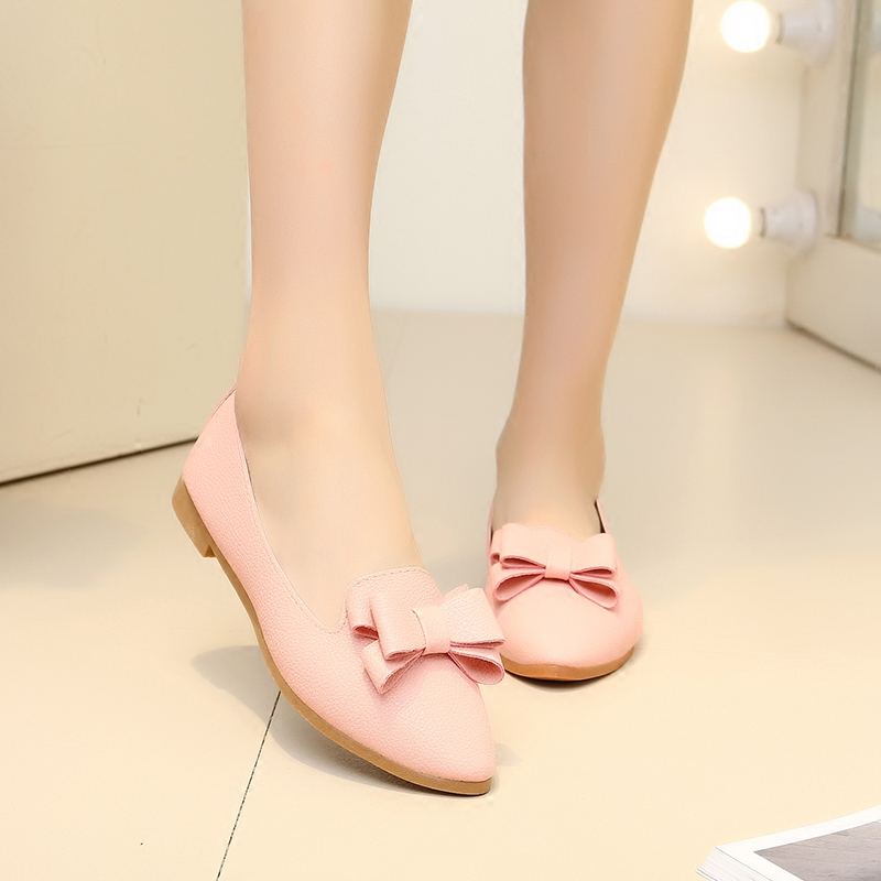 粉红色尖头鞋 新款平跟平底尖头单鞋女四季鞋小白鞋黑色工鞋粉红色蝴蝶结秋鞋女_推荐淘宝好看的粉红色尖头鞋