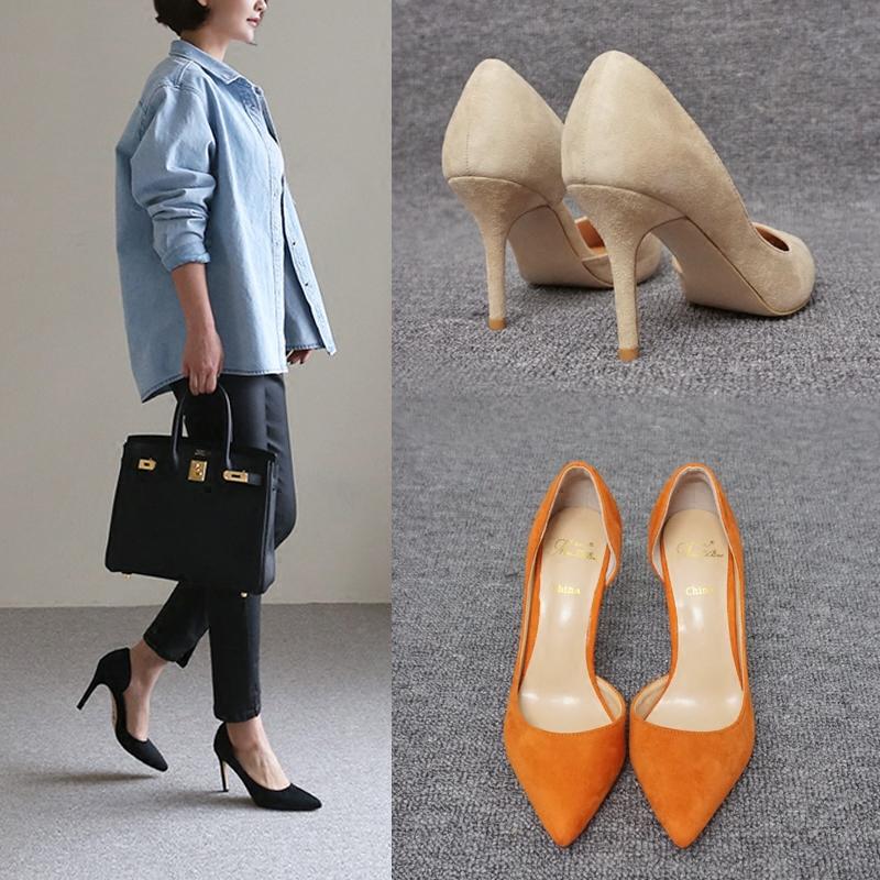 黄色高跟鞋 2018新款高跟鞋女 细跟 尖头8CM黄色侧空单鞋大码明星同款鞋橙色_推荐淘宝好看的黄色高跟鞋