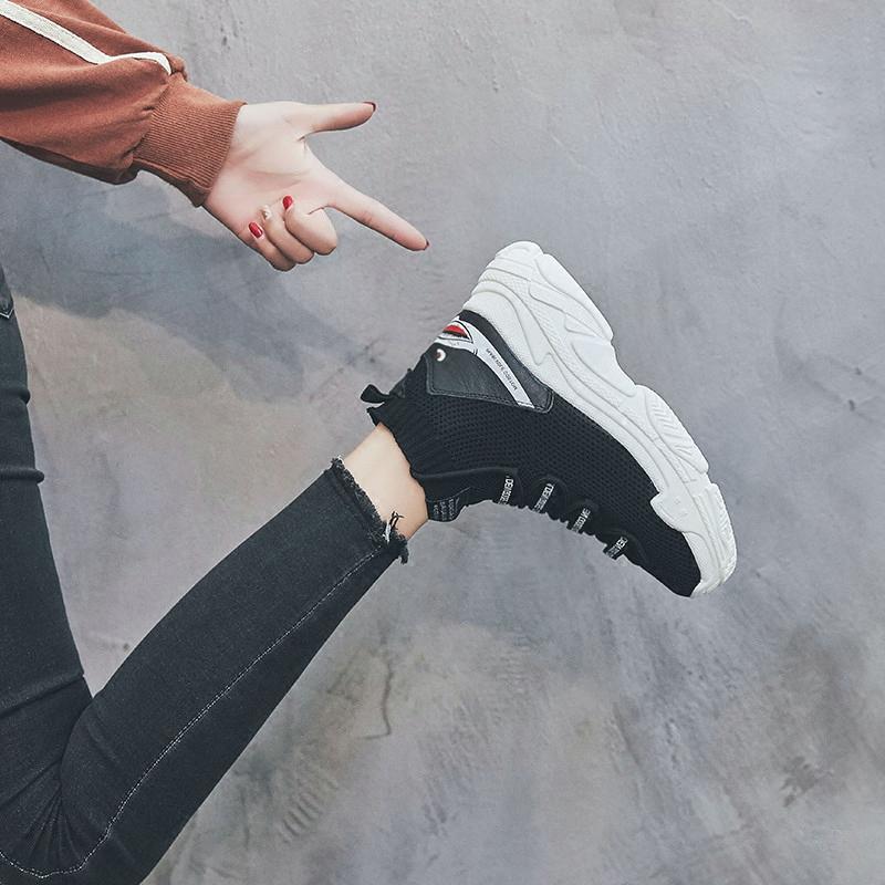韩版高帮鞋 弹力ins超火的袜子鞋女韩版ulzzang厚底鲨鱼嘻哈街舞运动高帮鞋潮_推荐淘宝好看的女韩版高帮鞋