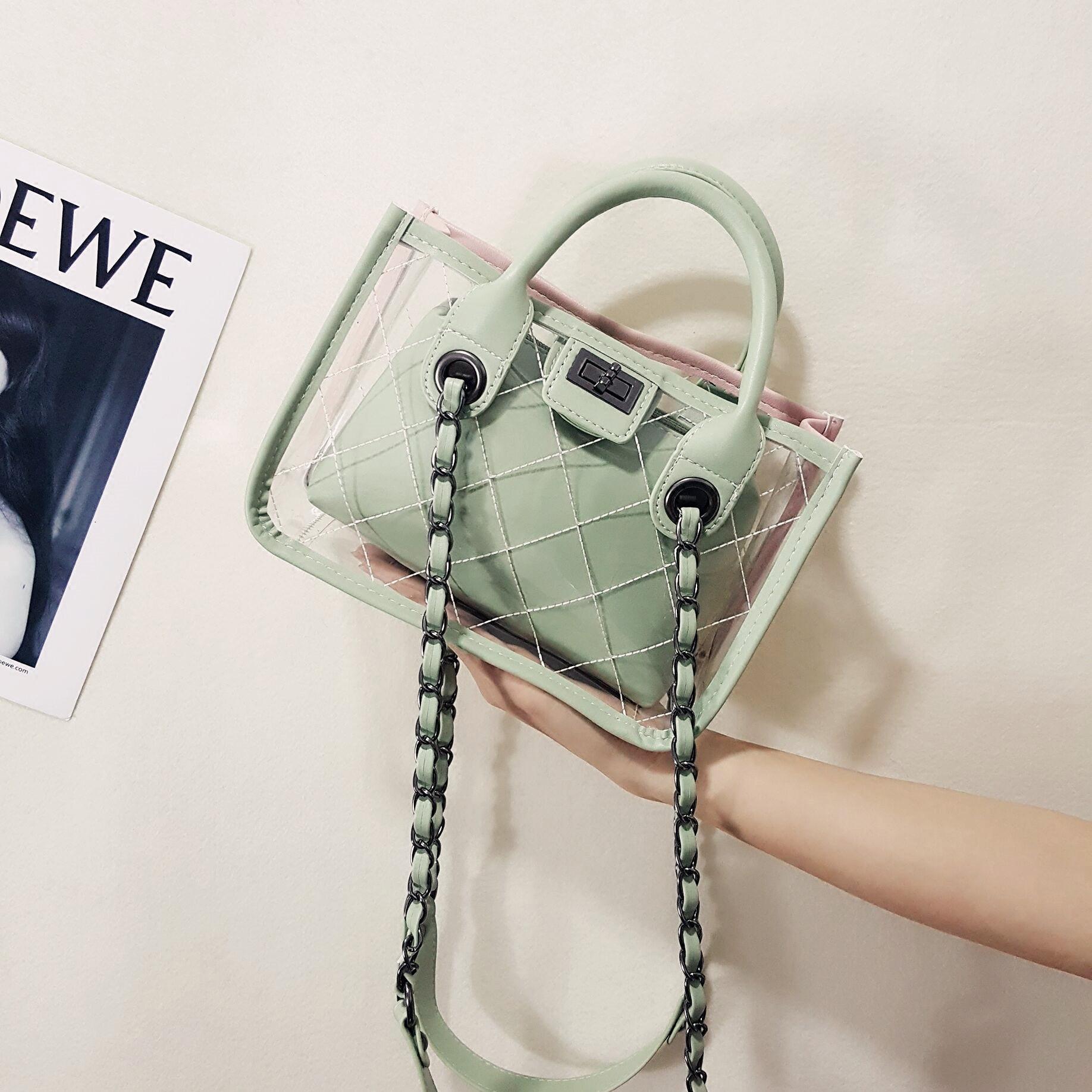 绿色链条包 2018新款韩版百搭透明包菱格果冻包小香风撞色链条单肩包子母包_推荐淘宝好看的绿色链条包