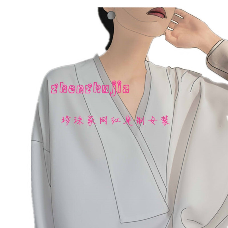 白色衬衫 JO-JO-Z 独家V领拼接纱长袖白衬衫宽松显瘦仙气十足 优雅上衣女_推荐淘宝好看的白色衬衫