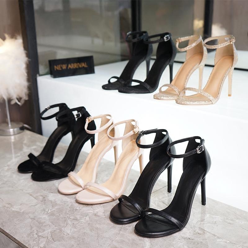 新款高跟鞋 2018夏季新款一字扣带chic凉鞋女细跟露趾气质高跟鞋真皮女鞋小码_推荐淘宝好看的女新款高跟鞋