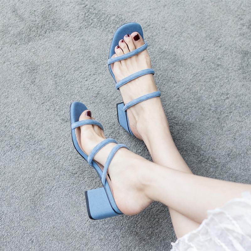 夏季高跟凉鞋 夏季女鞋中跟真皮粗跟显瘦甜美韩版一字带时尚高跟一脚蹬拖鞋凉鞋_推荐淘宝好看的女夏季高跟凉鞋