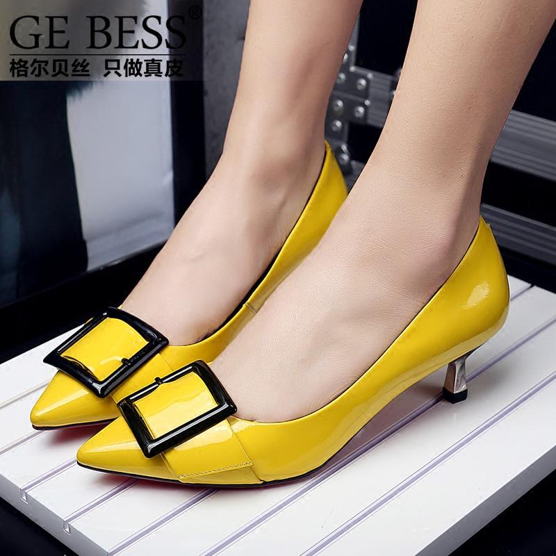 黄色单鞋 格尔贝丝新款欧美时尚漆皮女鞋方扣尖头单鞋套脚酒杯跟中跟鞋黄色_推荐淘宝好看的黄色单鞋