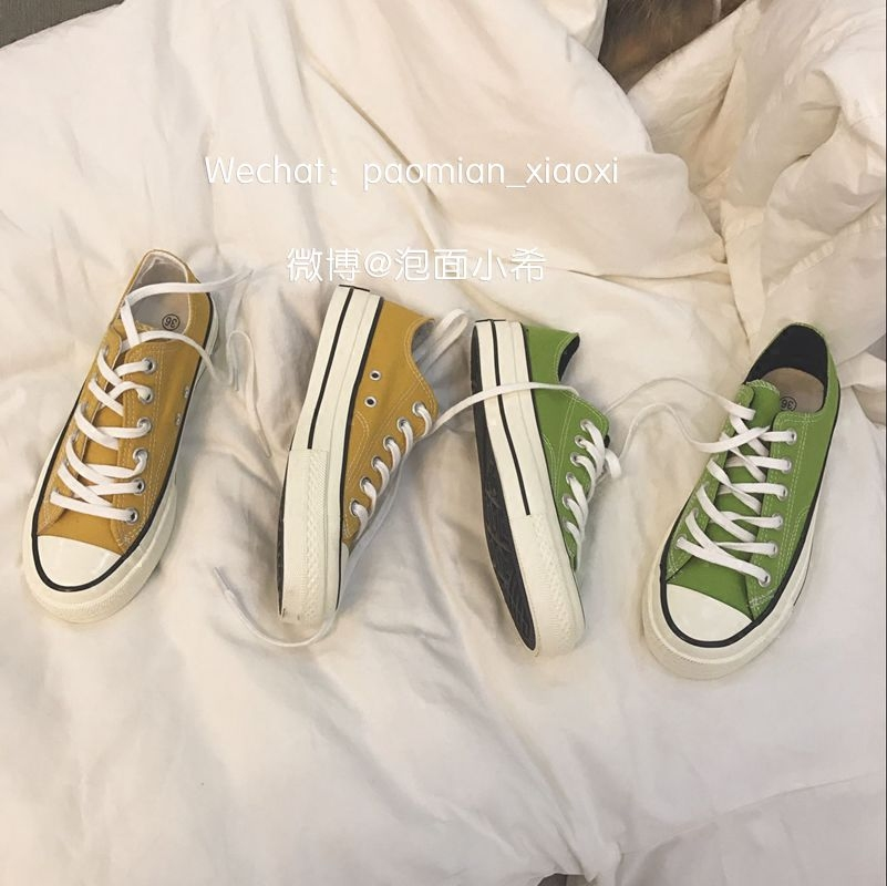 黄色帆布鞋 (泡面小希)韩国~李晟京爱的黄色帆布鞋 复古男女鞋_推荐淘宝好看的黄色帆布鞋