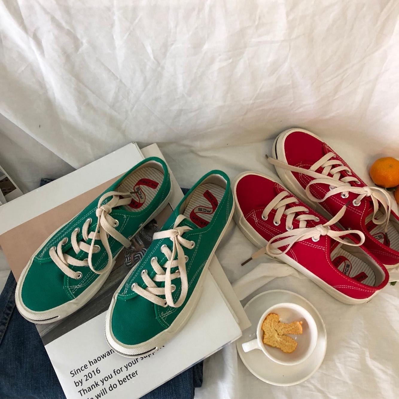 绿色帆布鞋 泡面小希鞋子 2018春季新款复古绿色开口笑学生帆布鞋平底韩板鞋_推荐淘宝好看的绿色帆布鞋