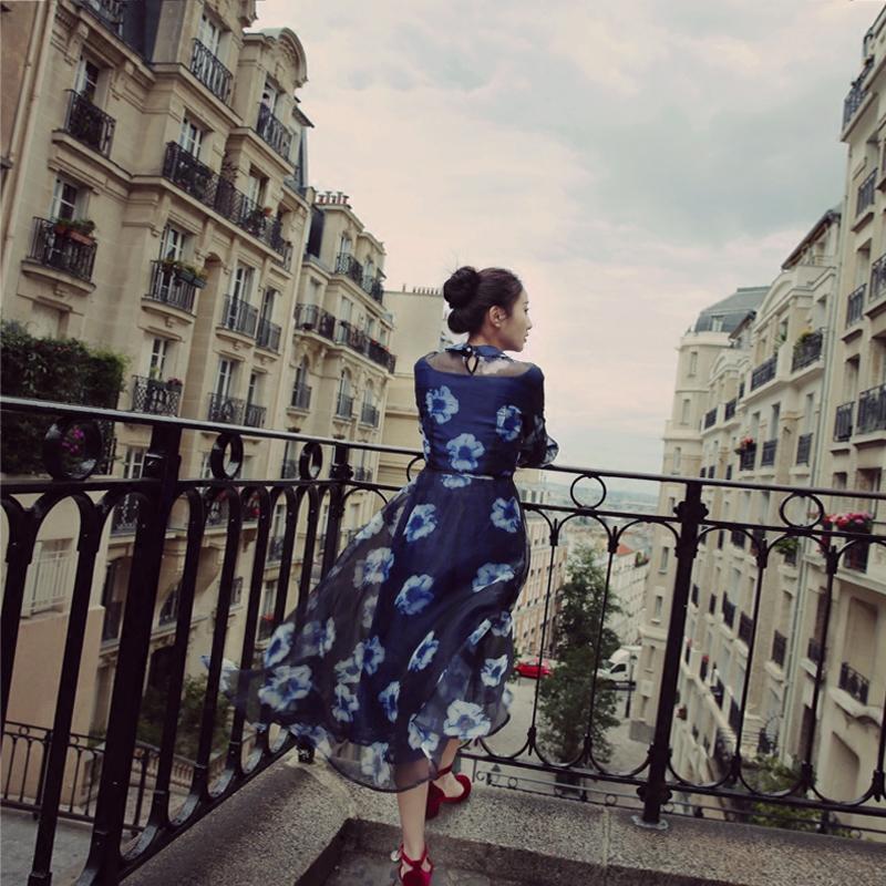 蕾丝连衣裙 经典款 无有无印秋季新款蓝色优雅印花欧根纱蕾丝灯笼袖连衣裙M15116_推荐淘宝好看的蕾丝连衣裙