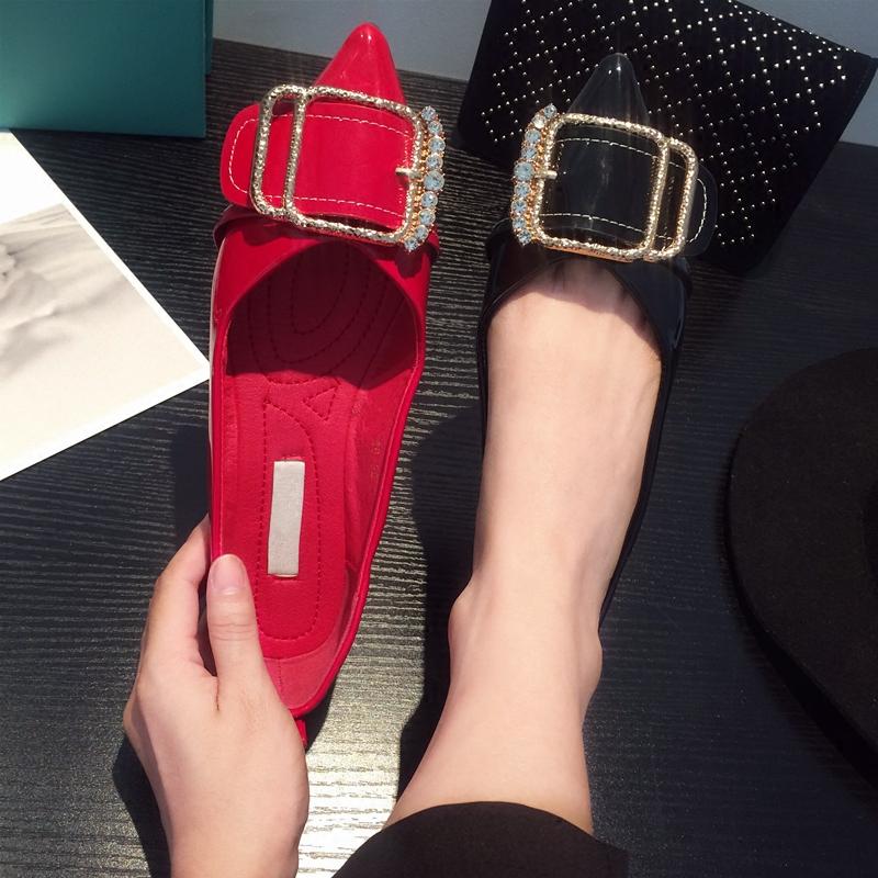 红色平底鞋 2018秋季新品水钻方扣平底鞋女婚鞋百搭大码平跟浅口单鞋女红色鞋_推荐淘宝好看的红色平底鞋