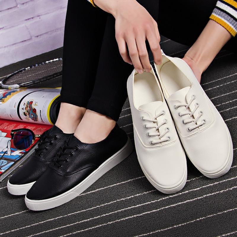 白色帆布鞋 2017春夏新款帆布鞋女百搭平底皮面系带小白鞋学生休闲黑白色板鞋_推荐淘宝好看的白色帆布鞋