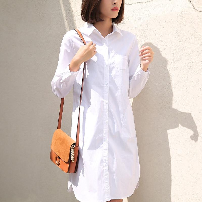 女士长款衬衫 加绒白色衬衫女长袖中长款纯棉宽松大码显瘦上衣加长版长款白衬衣_推荐淘宝好看的女长款衬衫
