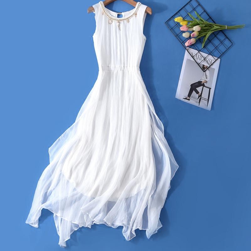 白色无袖连衣裙 真丝裙子女2018新款海边度假裙显瘦连衣裙夏中长款无袖仙女裙复古_推荐淘宝好看的白色无袖连衣裙