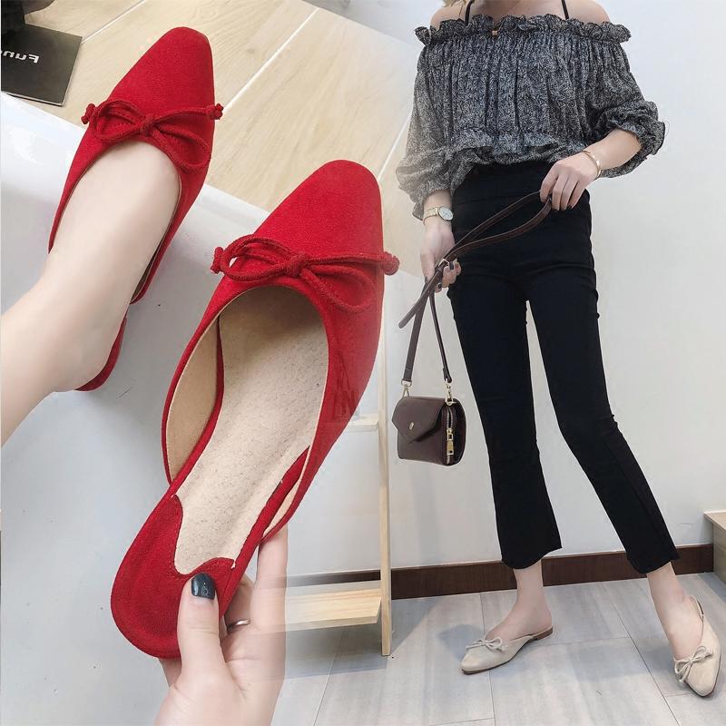 红色凉鞋 夏季新款半拖同款包头拖鞋女红色凉拖平底鞋尖头穆勒鞋蝴蝶结凉鞋_推荐淘宝好看的红色凉鞋