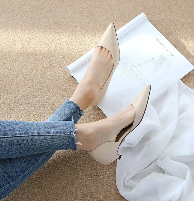 白色尖头鞋 2018春新款尖头低跟鞋裸色舒适宴会鞋小码浅口简约白色细跟工作鞋_推荐淘宝好看的白色尖头鞋