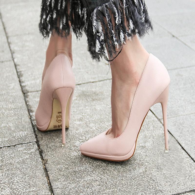 细跟性感高跟鞋 性感水台高跟鞋女2019新款浅口单鞋少女春季细跟尖头超高跟12,5cm_推荐淘宝好看的细跟性感高跟鞋