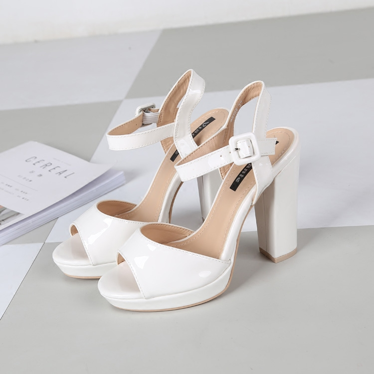 白色高跟凉鞋 优雅 气质显瘦白色露趾粗跟凉鞋 高跟女鞋_推荐淘宝好看的女白色高跟凉鞋