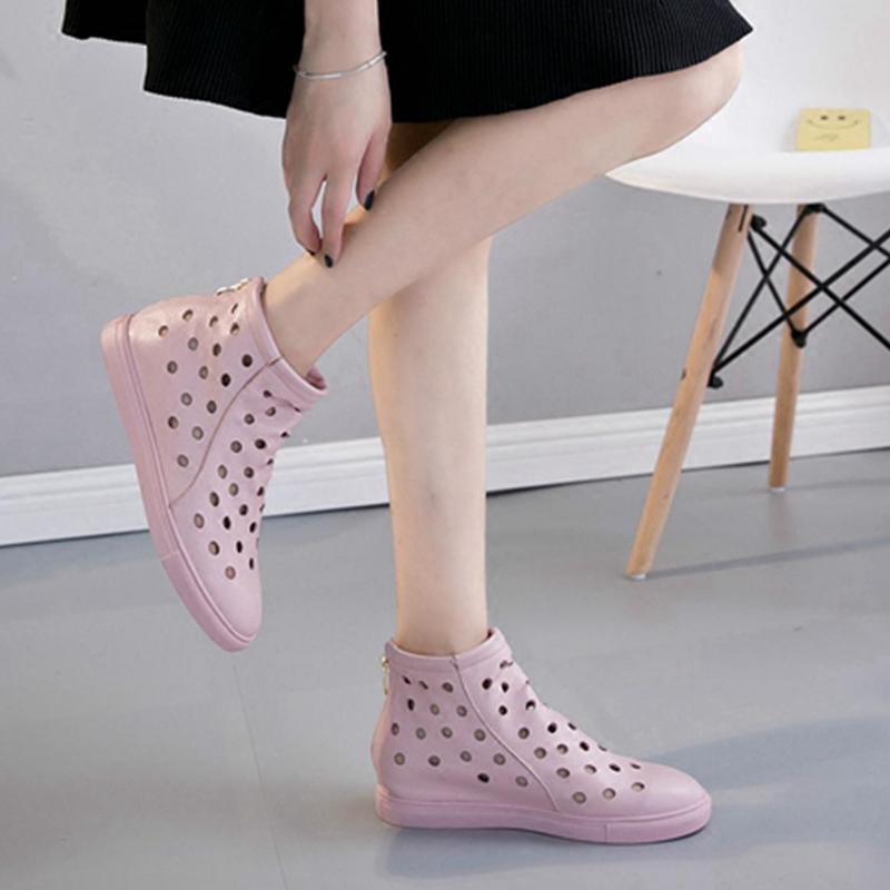 洞洞鞋 女夏季平底真皮套脚高帮镂空网眼凉鞋潮凉短靴女牛皮打孔洞洞凉靴_推荐淘宝好看的女洞洞鞋