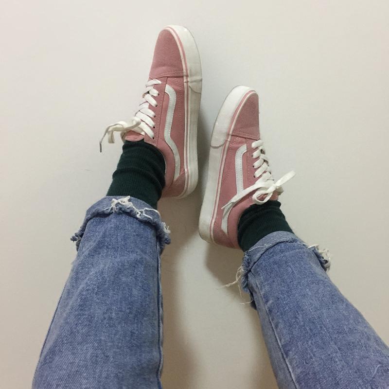 粉红色帆布鞋 韩国ins超火鞋子ulzzang原宿街拍粉红色港风板鞋chic帆布鞋女学生_推荐淘宝好看的粉红色帆布鞋