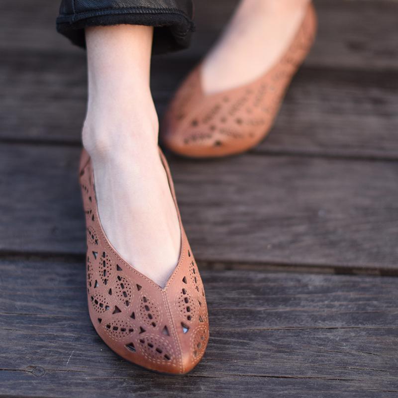 低跟坡跟鞋 阿木原创2017春季新款复古舒适羊皮镂空坡跟低跟尖头单鞋女_推荐淘宝好看的低跟坡跟鞋